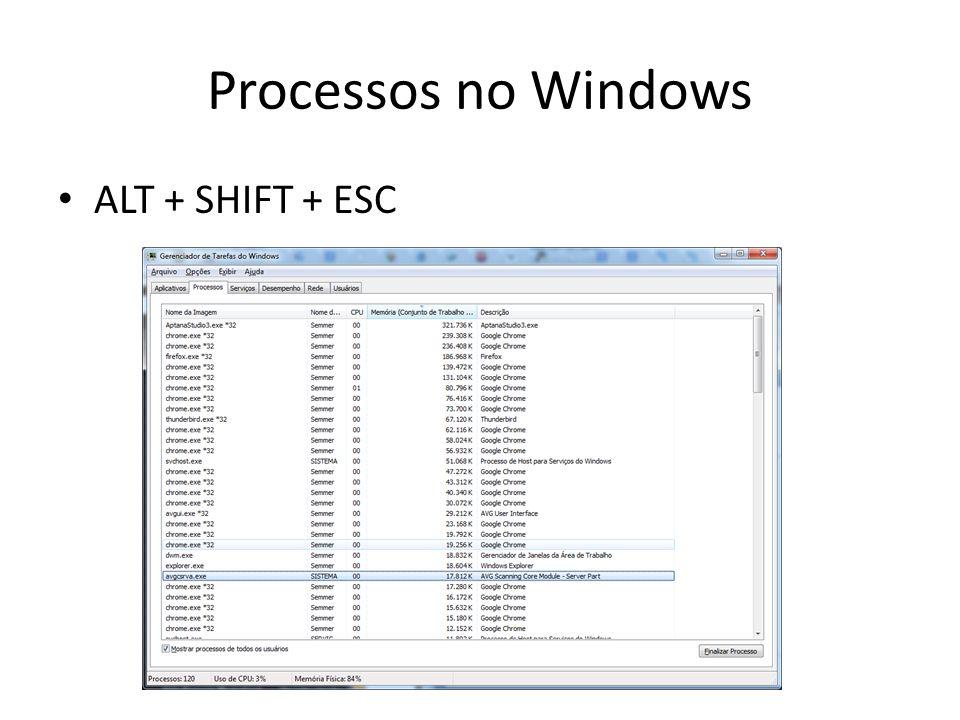 Processos no Windows ALT + SHIFT + ESC