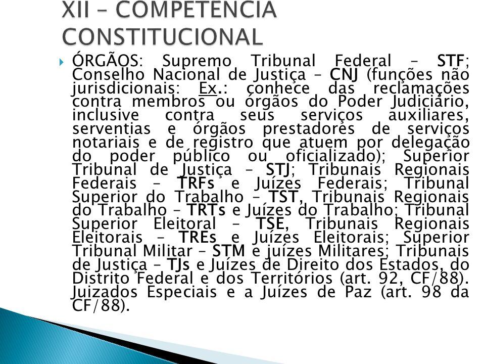  ÓRGÃOS: Supremo Tribunal Federal – STF; Conselho Nacional de Justiça – CNJ (funções não jurisdicionais: Ex.: conhece das reclamações contra membros