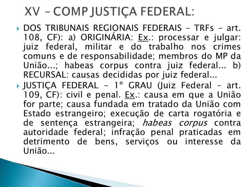  DOS TRIBUNAIS REGIONAIS FEDERAIS – TRFs – art. 108, CF): a) ORIGINÁRIA: Ex.: processar e julgar: juiz federal, militar e do trabalho nos crimes comu