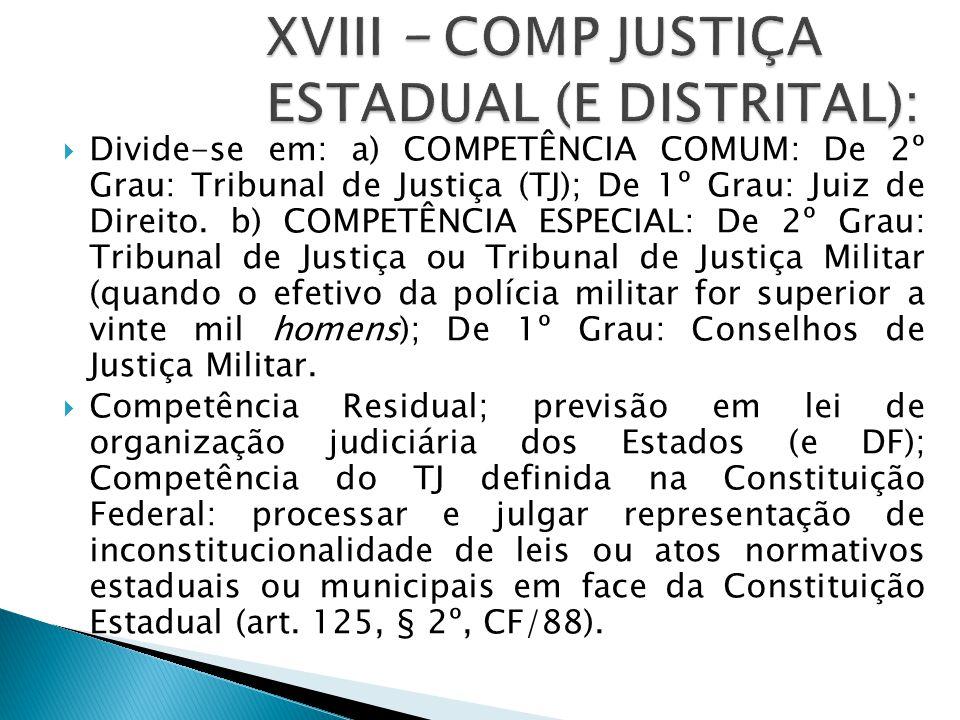  Divide-se em: a) COMPETÊNCIA COMUM: De 2º Grau: Tribunal de Justiça (TJ); De 1º Grau: Juiz de Direito. b) COMPETÊNCIA ESPECIAL: De 2º Grau: Tribunal