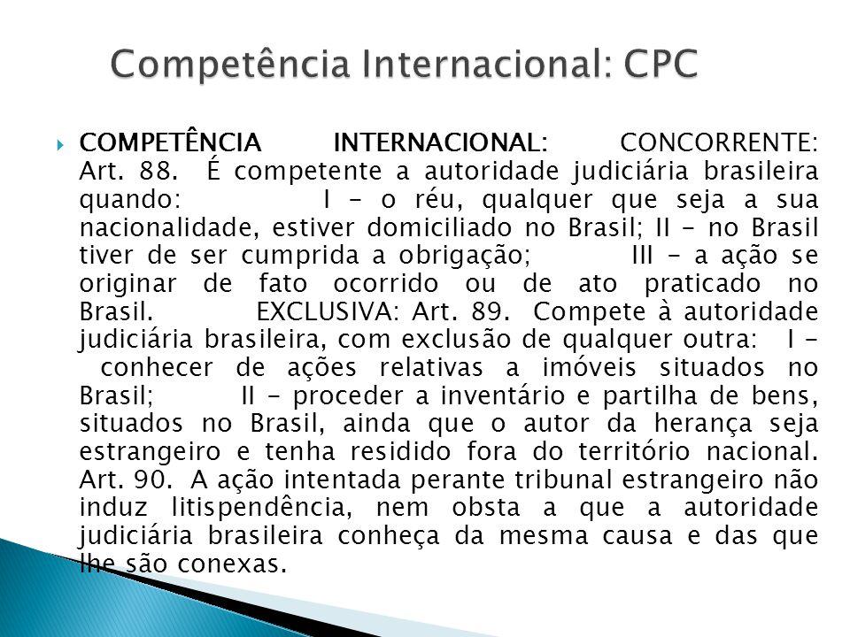 COMPETÊNCIA INTERNACIONAL: CONCORRENTE: Art. 88. É competente a autoridade judiciária brasileira quando: I - o réu, qualquer que seja a sua nacional