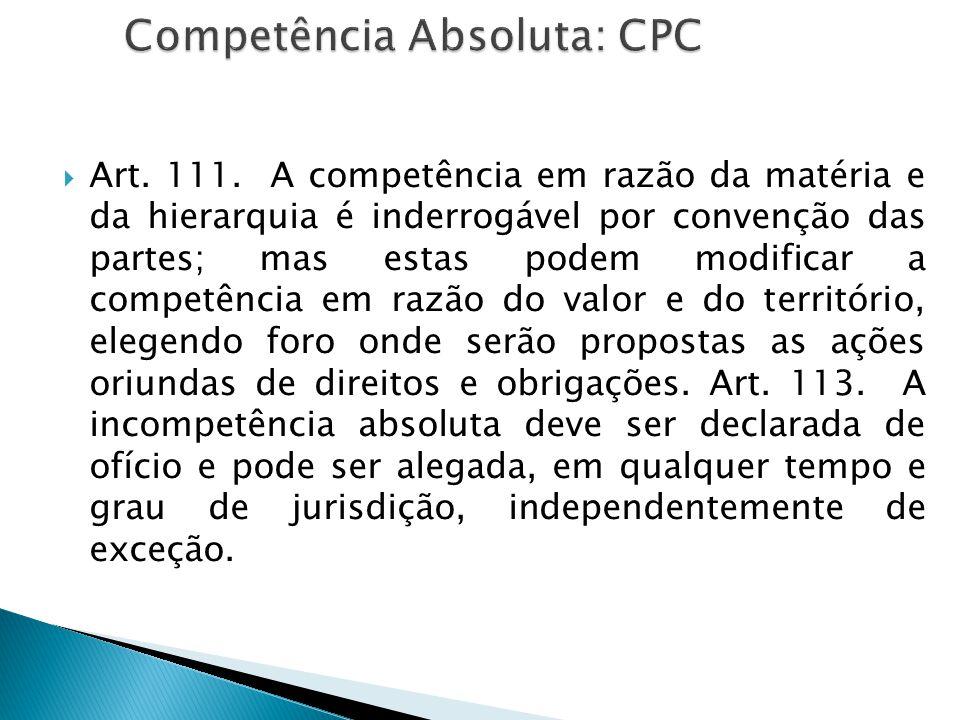  Art. 111. A competência em razão da matéria e da hierarquia é inderrogável por convenção das partes; mas estas podem modificar a competência em razã
