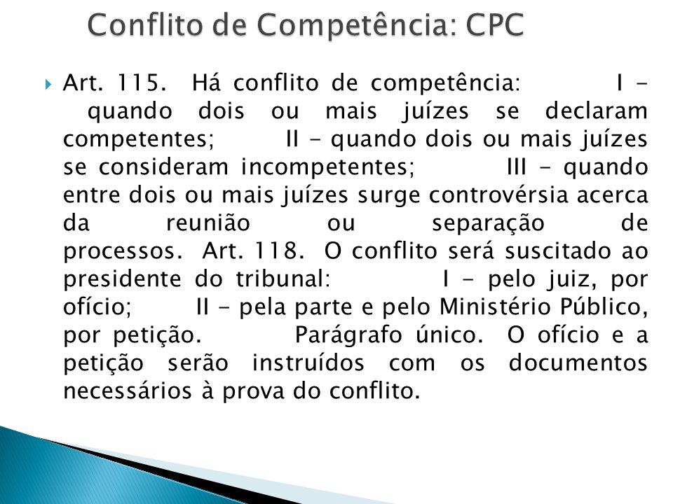  Art. 115. Há conflito de competência: I - quando dois ou mais juízes se declaram competentes; II - quando dois ou mais juízes se consideram incompet