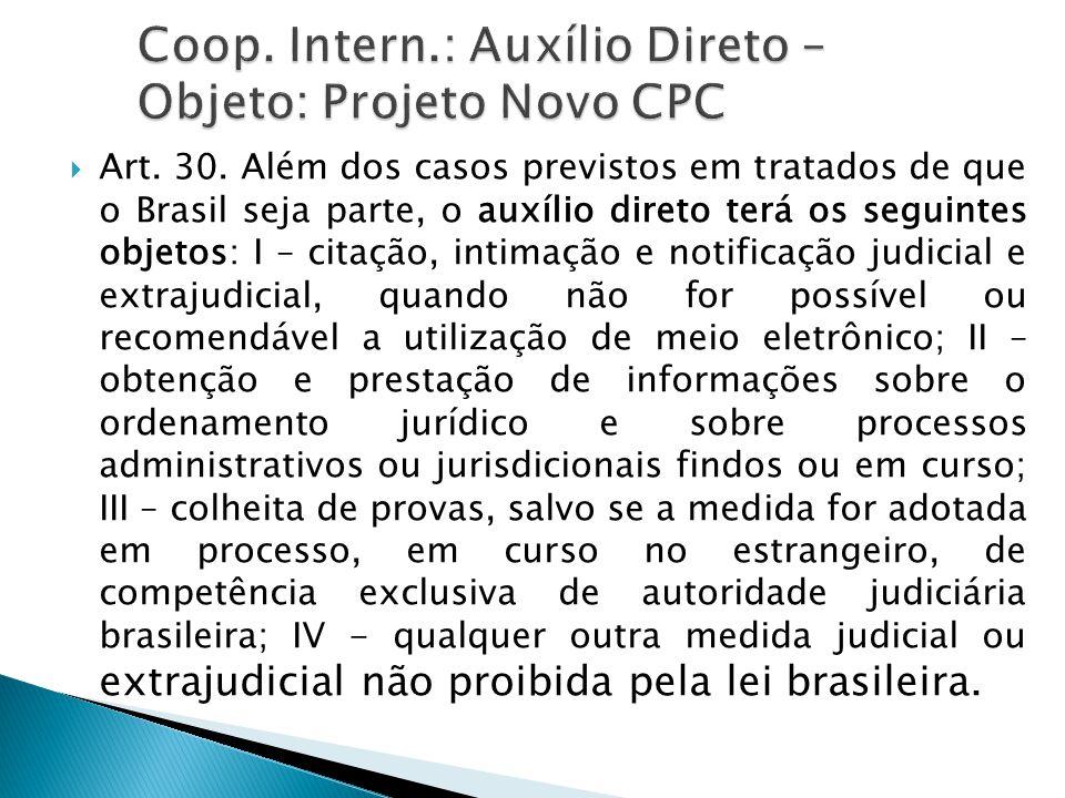  Art. 30. Além dos casos previstos em tratados de que o Brasil seja parte, o auxílio direto terá os seguintes objetos: I – citação, intimação e notif