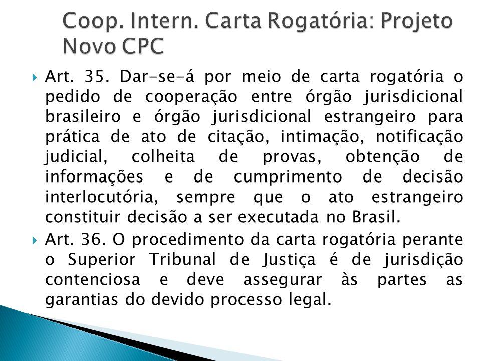  Art. 35. Dar-se-á por meio de carta rogatória o pedido de cooperação entre órgão jurisdicional brasileiro e órgão jurisdicional estrangeiro para prá