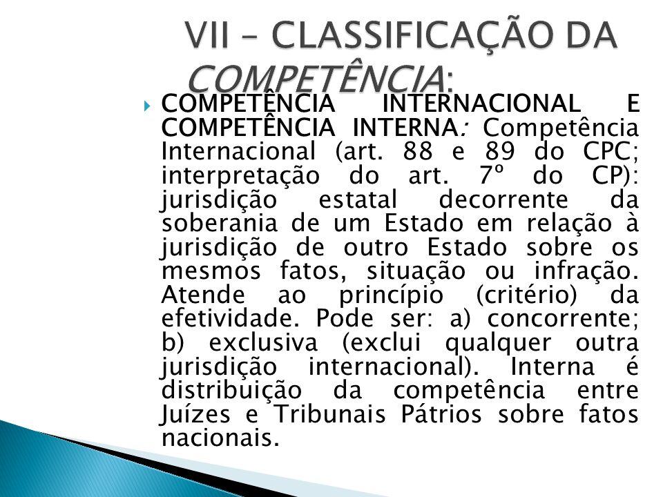  COMPETÊNCIA INTERNACIONAL E COMPETÊNCIA INTERNA: Competência Internacional (art. 88 e 89 do CPC; interpretação do art. 7º do CP): jurisdição estatal