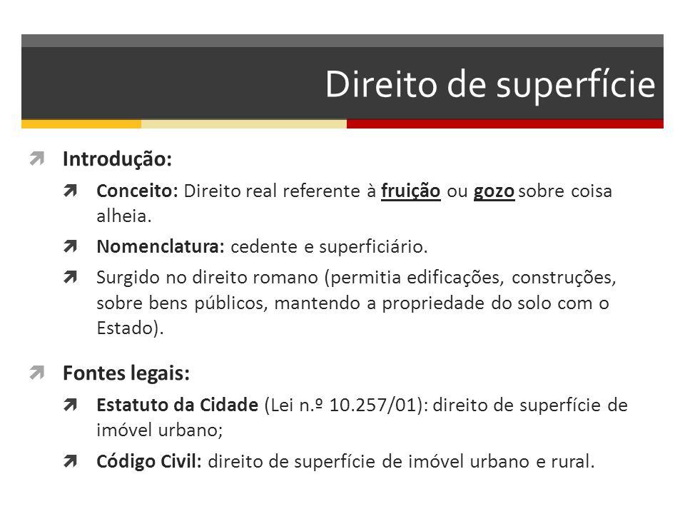 Direito de superfície  TÍTULO IV- Da Superfície – CÓDIGO CIVIL  Art.