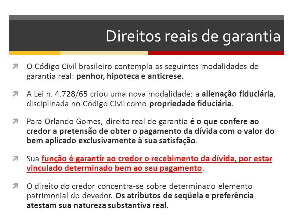 Direitos reais de garantia  O Código Civil brasileiro contempla as seguintes modalidades de garantia real: penhor, hipoteca e anticrese.  A Lei n. 4