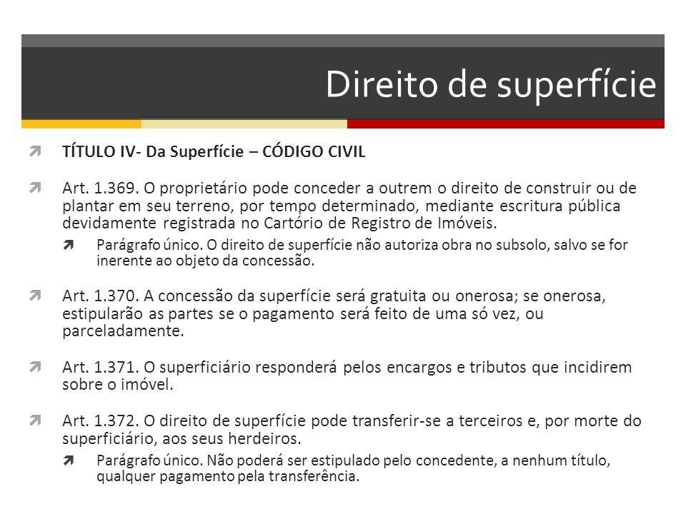 Direito de superfície  TÍTULO IV- Da Superfície – CÓDIGO CIVIL  Art. 1.369. O proprietário pode conceder a outrem o direito de construir ou de plant