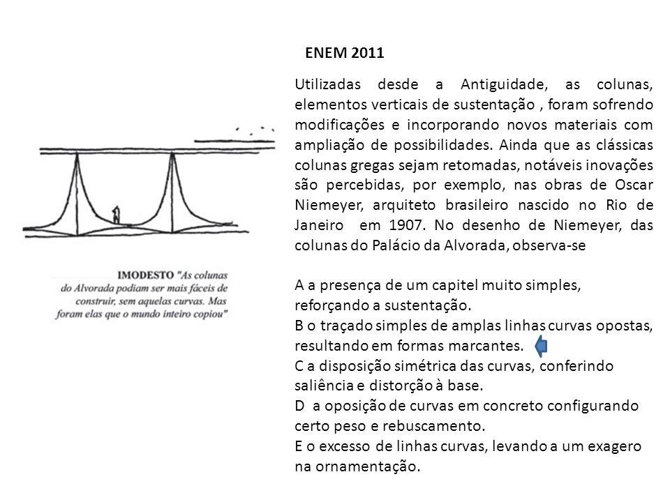 ENEM 2011 Utilizadas desde a Antiguidade, as colunas, elementos verticais de sustentação, foram sofrendo modificações e incorporando novos materiais c