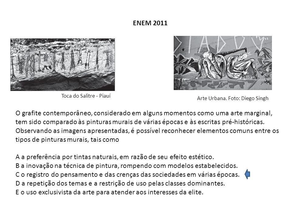ENEM 2011 Toca do Salitre - Piauí Arte Urbana. Foto: Diego Singh O grafite contemporâneo, considerado em alguns momentos como uma arte marginal, tem s