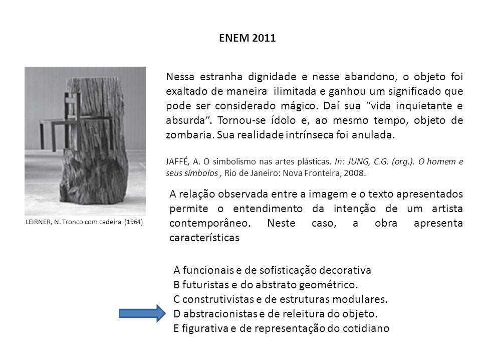 ENEM 2011 LEIRNER, N. Tronco com cadeira (1964) Nessa estranha dignidade e nesse abandono, o objeto foi exaltado de maneira ilimitada e ganhou um sign