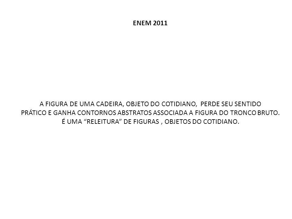ENEM 2011 A FIGURA DE UMA CADEIRA, OBJETO DO COTIDIANO, PERDE SEU SENTIDO PRÁTICO E GANHA CONTORNOS ABSTRATOS ASSOCIADA A FIGURA DO TRONCO BRUTO. É UM