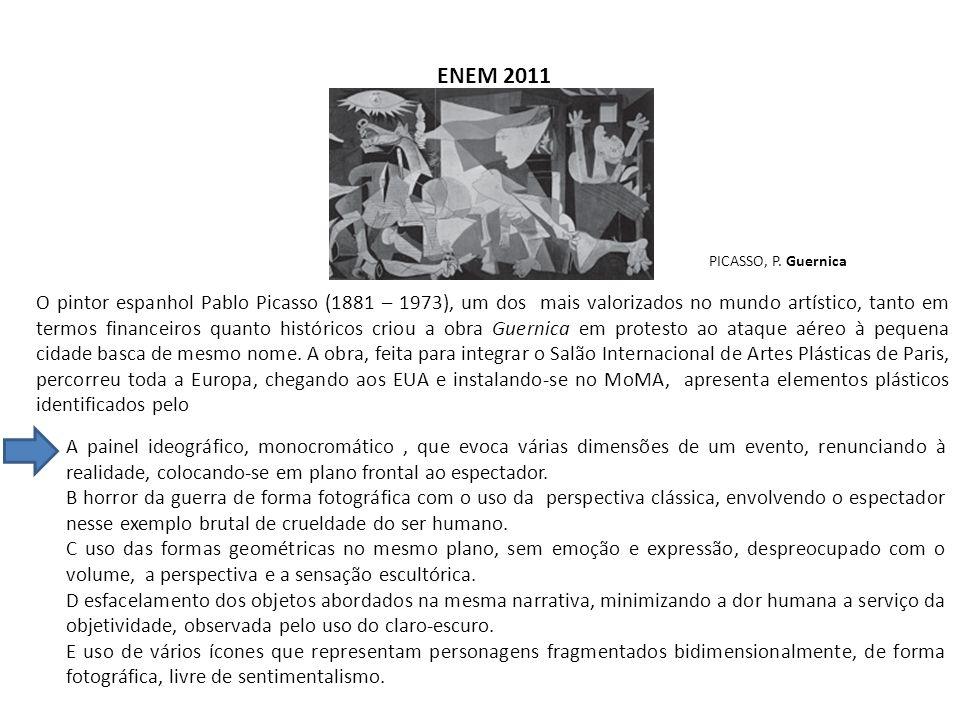 ENEM 2011 PICASSO, P. Guernica O pintor espanhol Pablo Picasso (1881 – 1973), um dos mais valorizados no mundo artístico, tanto em termos financeiros