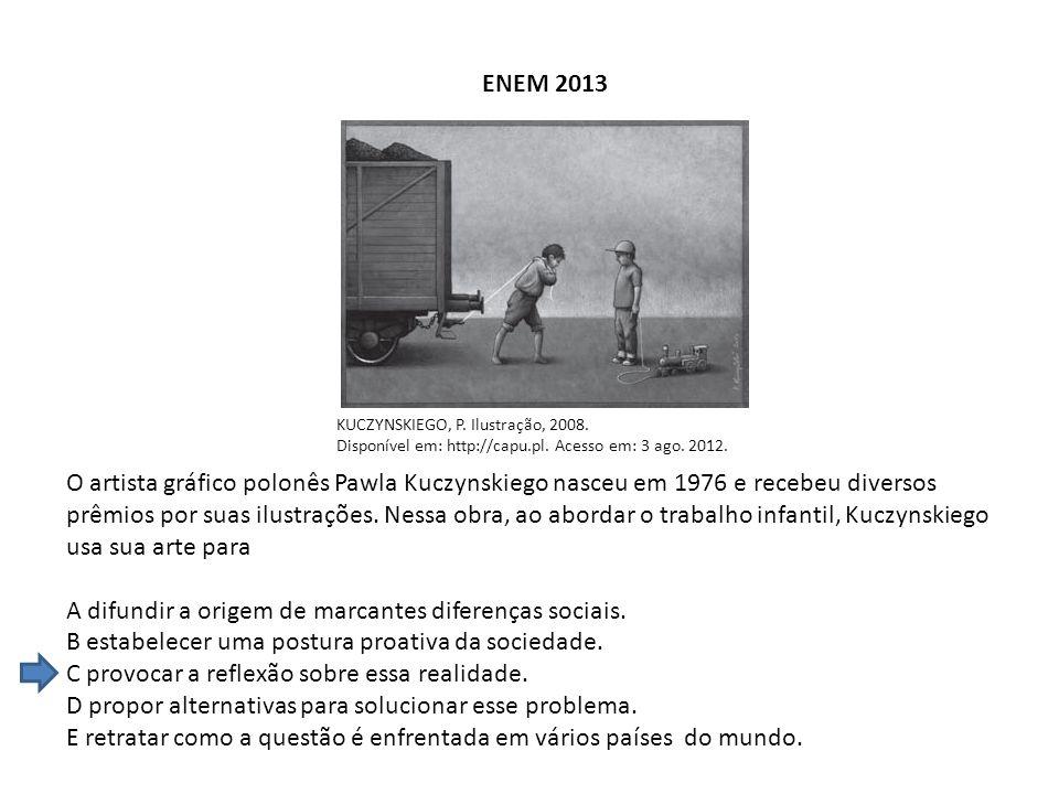 ENEM 2013 KUCZYNSKIEGO, P. Ilustração, 2008. Disponível em: http://capu.pl. Acesso em: 3 ago. 2012. O artista gráfico polonês Pawla Kuczynskiego nasce