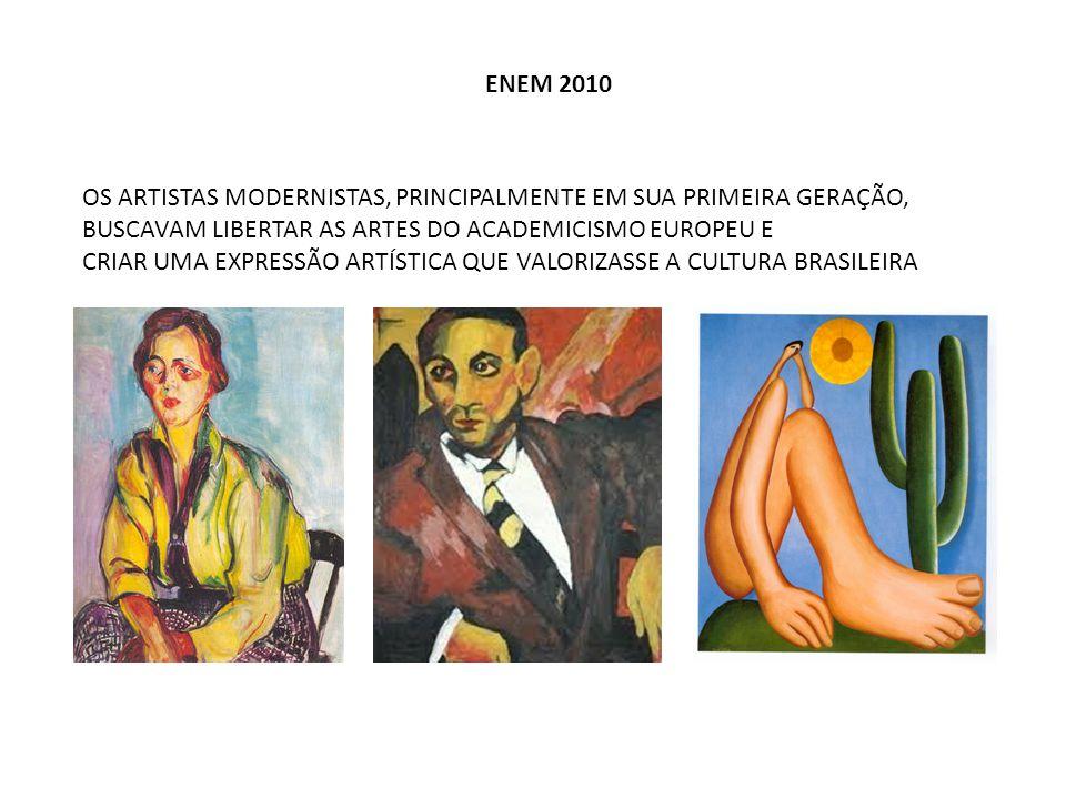 ENEM 2010 OS ARTISTAS MODERNISTAS, PRINCIPALMENTE EM SUA PRIMEIRA GERAÇÃO, BUSCAVAM LIBERTAR AS ARTES DO ACADEMICISMO EUROPEU E CRIAR UMA EXPRESSÃO AR