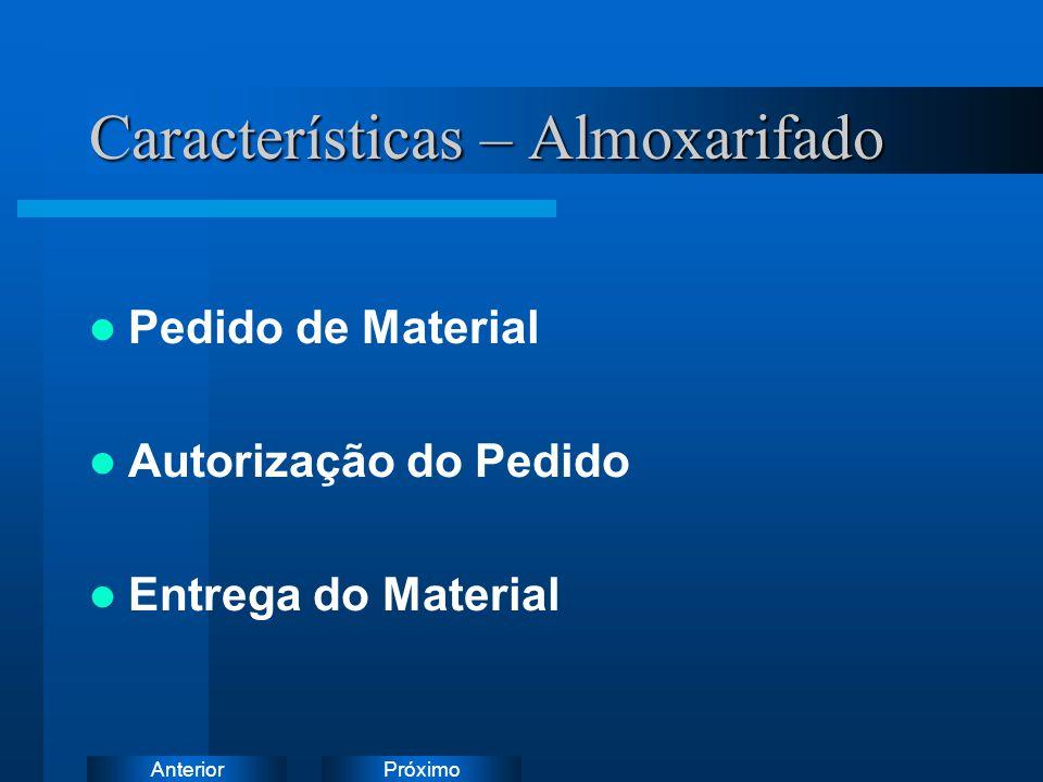 PróximoAnterior Características – Almoxarifado Pedido de Material Autorização do Pedido Entrega do Material