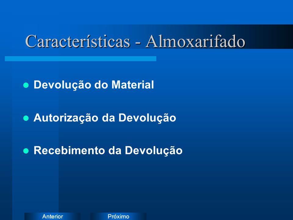 PróximoAnterior Características - Almoxarifado Inventário/Correção de Saldo Fechamento Mensal Reabertura de Saldos