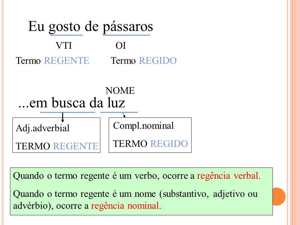 Eu gosto de pássaros VTIOI...em busca da luz Adj.adverbial TERMO REGENTE NOME Compl.nominal TERMO REGIDO Termo REGENTETermo REGIDO Quando o termo regente é um verbo, ocorre a regência verbal.