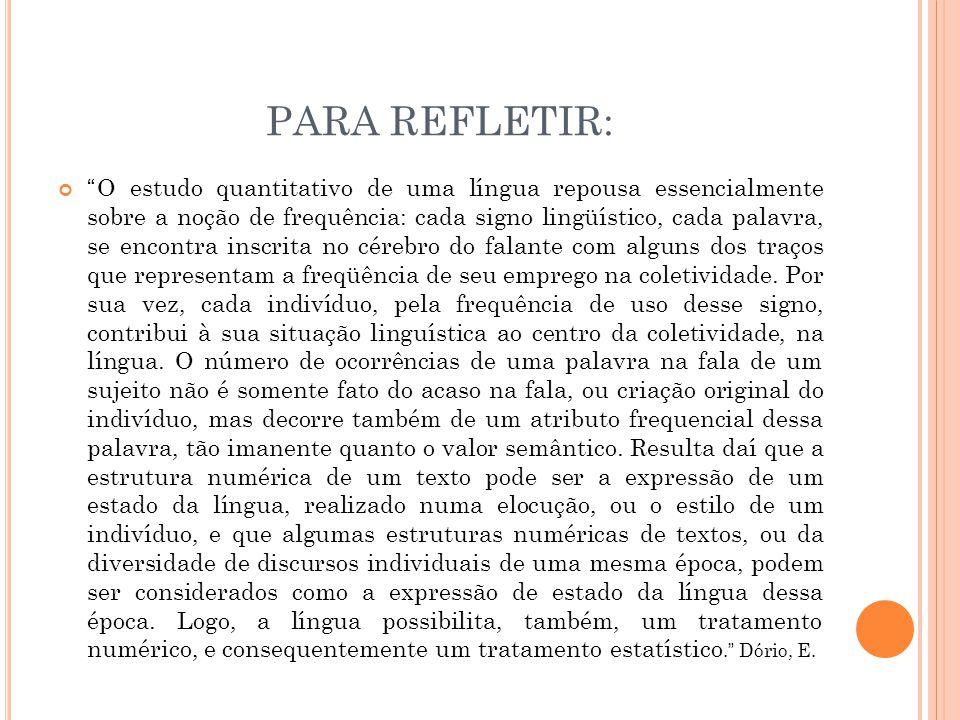 """PARA REFLETIR: """"O estudo quantitativo de uma língua repousa essencialmente sobre a noção de frequência: cada signo lingüístico, cada palavra, se encon"""