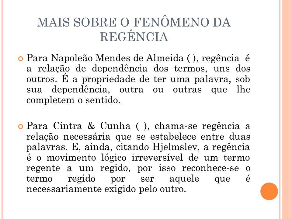 MAIS SOBRE O FENÔMENO DA REGÊNCIA Para Napoleão Mendes de Almeida ( ), regência é a relação de dependência dos termos, uns dos outros. É a propriedade