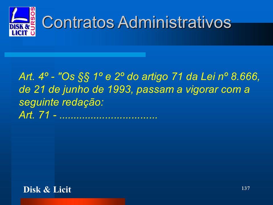Disk & Licit 137 Contratos Administrativos Art. 4º -