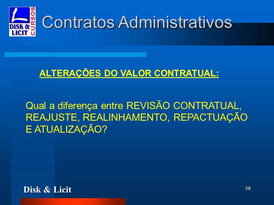 Disk & Licit 36 Contratos Administrativos ALTERAÇÕES DO VALOR CONTRATUAL: Qual a diferença entre REVISÃO CONTRATUAL, REAJUSTE, REALINHAMENTO, REPACTUA