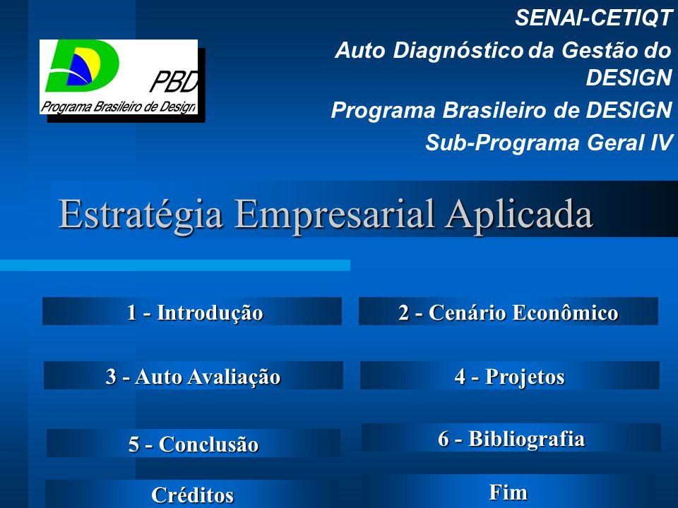Estratégia Empresarial Aplicada SENAI-CETIQT Auto Diagnóstico da Gestão do DESIGN Programa Brasileiro de DESIGN Sub-Programa Geral IV 1 - Introdução 1