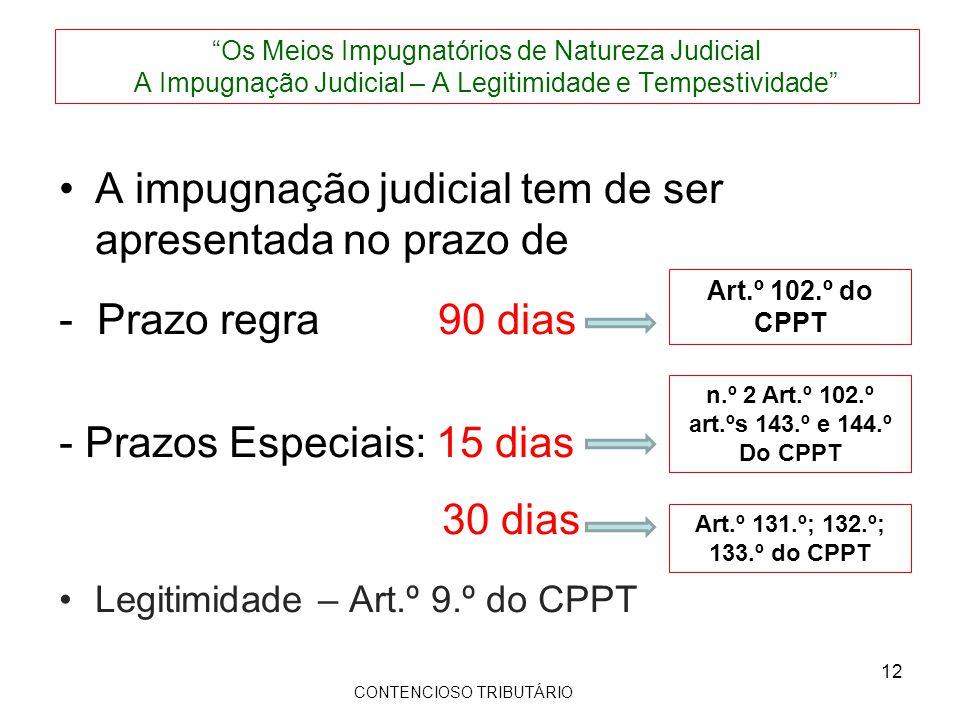 Os Meios Impugnatórios de Natureza Judicial A Impugnação Judicial – A Legitimidade e Tempestividade A impugnação judicial tem de ser apresentada no prazo de - Prazo regra 90 dias - Prazos Especiais: 15 dias 30 dias Legitimidade – Art.º 9.º do CPPT Art.º 102.º do CPPT Art.º 131.º; 132.º; 133.º do CPPT CONTENCIOSO TRIBUTÁRIO 12 n.º 2 Art.º 102.º art.ºs 143.º e 144.º Do CPPT