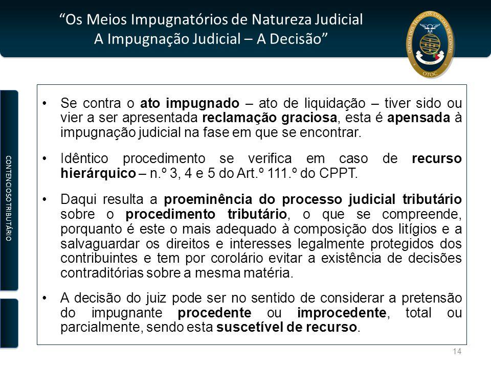 """""""Os Meios Impugnatórios de Natureza Judicial A Impugnação Judicial – A Decisão"""" Se contra o ato impugnado – ato de liquidação – tiver sido ou vier a s"""