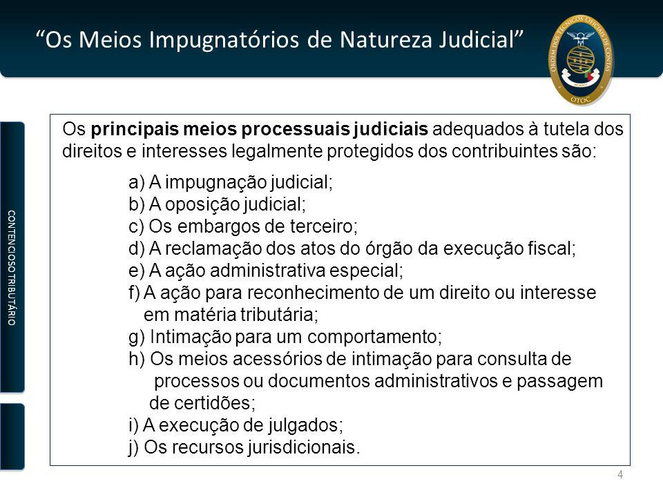 Os Meios Impugnatórios de Natureza Judicial A Impugnação Judicial PETIÇÃO PRAZOS FUNDAMENTOS Dirigida ao Juiz do Tribunal Administrativo e Fiscal Instaurada no Tribunal Notificação do RFP Organização do Processo Administrativo INDEFERIMENTO LIMINAR PRODUÇÃO DE PROVA NO TRIBUNAL DECISÃO: (JUIZ) PROCEDENTE IMPROCEDENTE RECURSO:TCA ou STA Art.º 102.º e Art.º 99.º do CPPT Art.º 279.º do CPPT CONTENCIOSO TRIBUTÁRIO 15