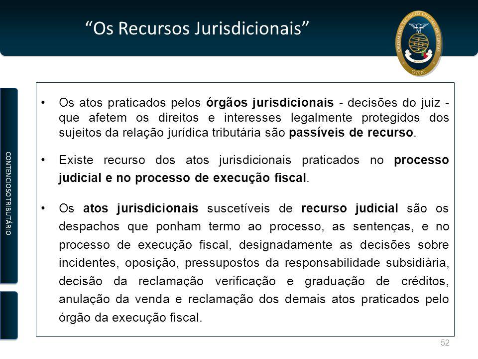Os Recursos Jurisdicionais Os atos praticados pelos órgãos jurisdicionais - decisões do juiz - que afetem os direitos e interesses legalmente protegidos dos sujeitos da relação jurídica tributária são passíveis de recurso.
