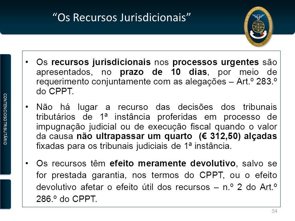 Os Recursos Jurisdicionais Os recursos jurisdicionais nos processos urgentes são apresentados, no prazo de 10 dias, por meio de requerimento conjuntamente com as alegações – Art.º 283.º do CPPT.