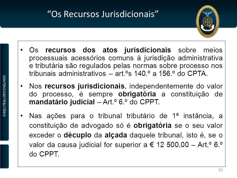 """""""Os Recursos Jurisdicionais"""" Os recursos dos atos jurisdicionais sobre meios processuais acessórios comuns à jurisdição administrativa e tributária sã"""