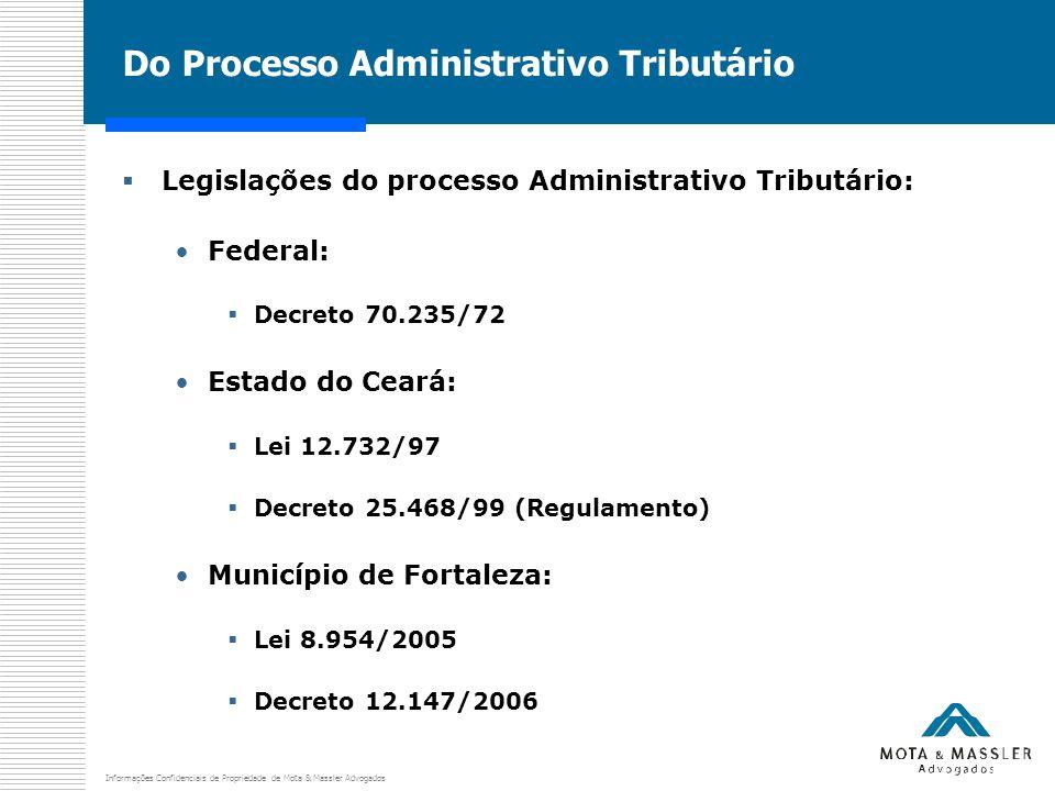 Informações Confidenciais de Propriedade de Mota & Massler Advogados Do Processo Administrativo Tributário  Legislações do processo Administrativo Tr