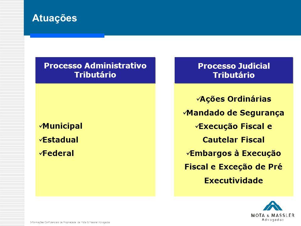 Informações Confidenciais de Propriedade de Mota & Massler Advogados Atuações Municipal Estadual Federal Municipal Estadual Federal Processo Administr