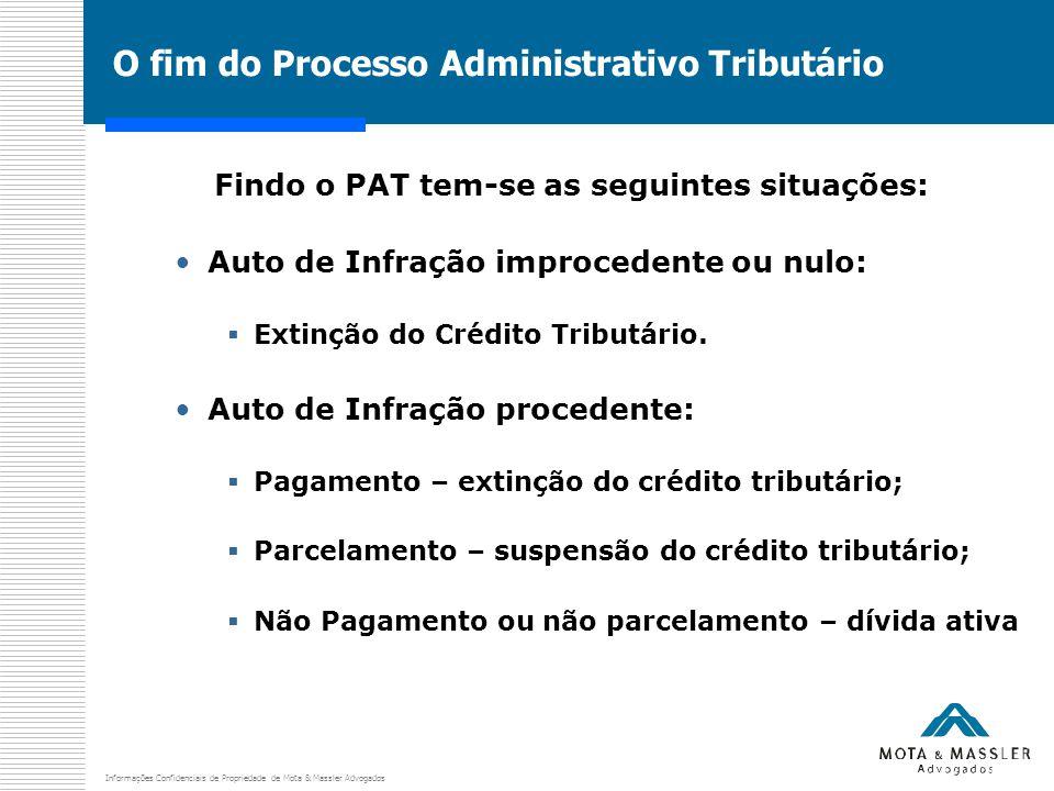 Informações Confidenciais de Propriedade de Mota & Massler Advogados O fim do Processo Administrativo Tributário Findo o PAT tem-se as seguintes situa