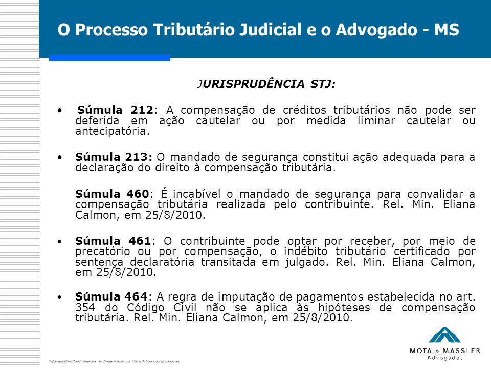 Informações Confidenciais de Propriedade de Mota & Massler Advogados O Processo Tributário Judicial e o Advogado - MS JURISPRUDÊNCIA STJ: Súmula 212: