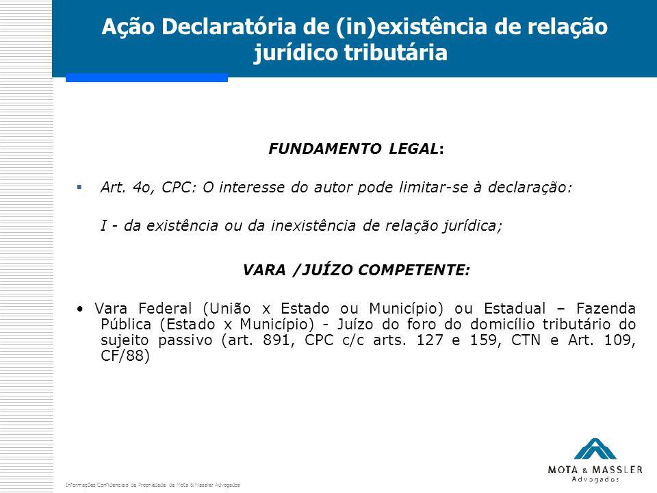 Informações Confidenciais de Propriedade de Mota & Massler Advogados Ação Declaratória de (in)existência de relação jurídico tributária FUNDAMENTO LEGAL:  Art.