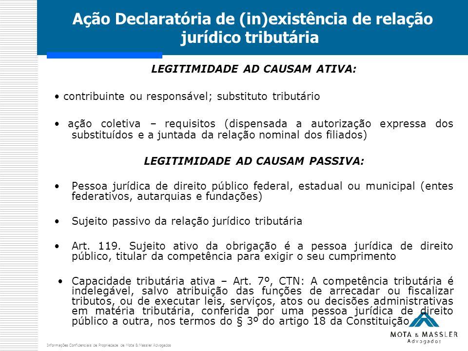 Informações Confidenciais de Propriedade de Mota & Massler Advogados Ação Declaratória de (in)existência de relação jurídico tributária LEGITIMIDADE A