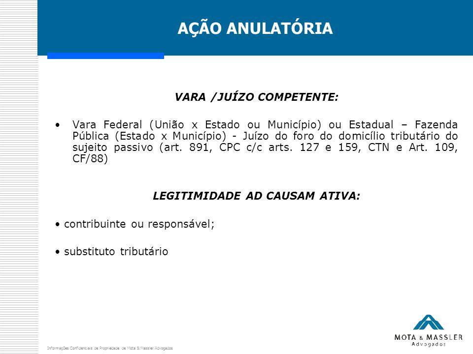 Informações Confidenciais de Propriedade de Mota & Massler Advogados AÇÃO ANULATÓRIA VARA /JUÍZO COMPETENTE: Vara Federal (União x Estado ou Município