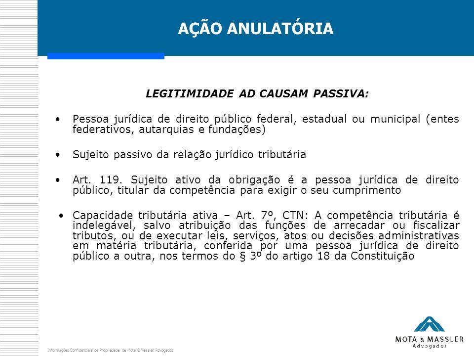 Informações Confidenciais de Propriedade de Mota & Massler Advogados AÇÃO ANULATÓRIA LEGITIMIDADE AD CAUSAM PASSIVA: Pessoa jurídica de direito públic