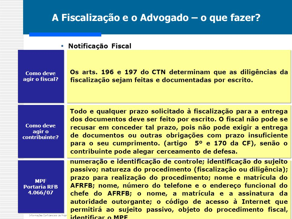 Informações Confidenciais de Propriedade de Mota & Massler Advogados A Fiscalização e o Advogado – o que fazer?  Notificação Fiscal Os arts. 196 e 19