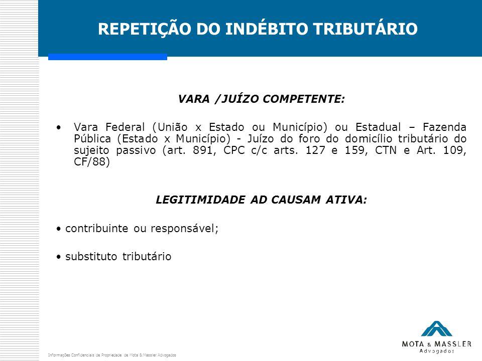 Informações Confidenciais de Propriedade de Mota & Massler Advogados REPETIÇÃO DO INDÉBITO TRIBUTÁRIO VARA /JUÍZO COMPETENTE: Vara Federal (União x Es