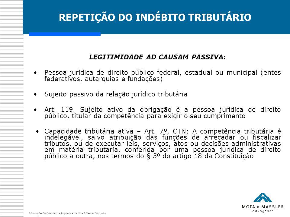 Informações Confidenciais de Propriedade de Mota & Massler Advogados REPETIÇÃO DO INDÉBITO TRIBUTÁRIO LEGITIMIDADE AD CAUSAM PASSIVA: Pessoa jurídica