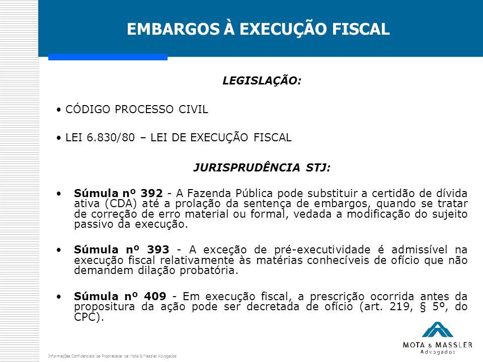 Informações Confidenciais de Propriedade de Mota & Massler Advogados EMBARGOS À EXECUÇÃO FISCAL LEGISLAÇÃO: CÓDIGO PROCESSO CIVIL LEI 6.830/80 – LEI DE EXECUÇÃO FISCAL JURISPRUDÊNCIA STJ: Súmula nº 392 - A Fazenda Pública pode substituir a certidão de dívida ativa (CDA) até a prolação da sentença de embargos, quando se tratar de correção de erro material ou formal, vedada a modificação do sujeito passivo da execução.