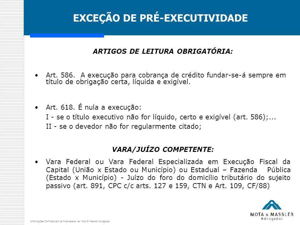 Informações Confidenciais de Propriedade de Mota & Massler Advogados EXCEÇÃO DE PRÉ-EXECUTIVIDADE ARTIGOS DE LEITURA OBRIGATÓRIA: Art. 586. A execução