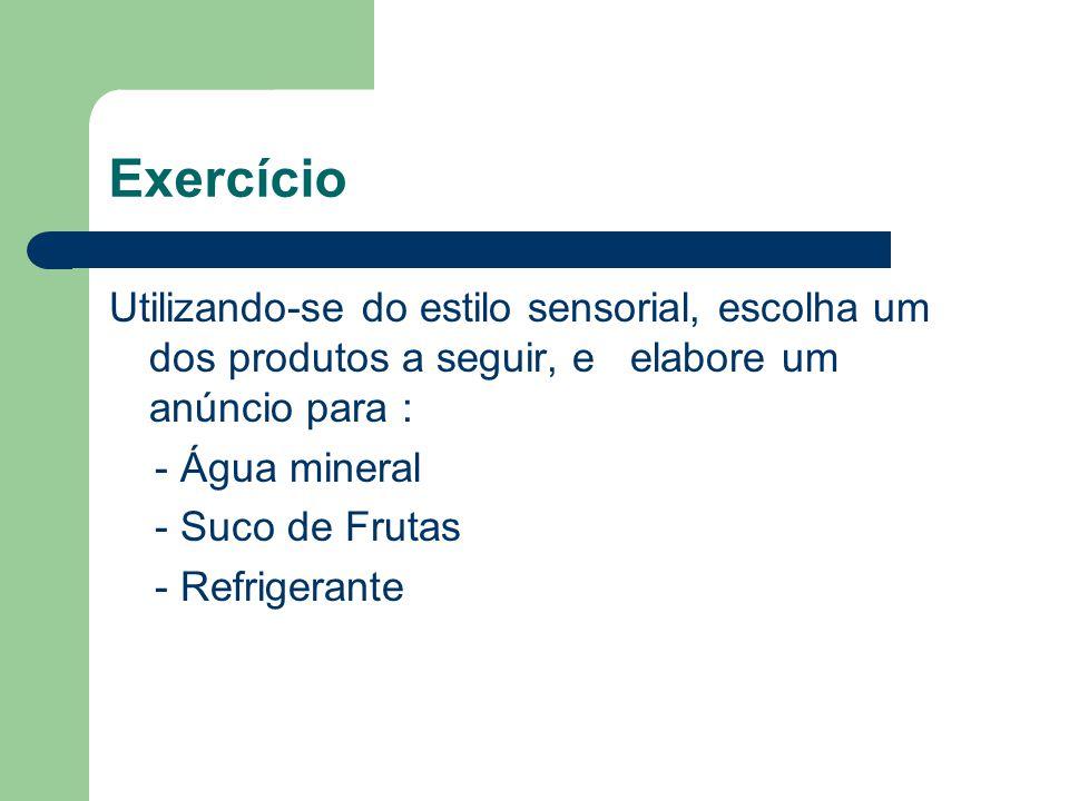 Exercício Utilizando-se do estilo sensorial, escolha um dos produtos a seguir, e elabore um anúncio para : - Água mineral - Suco de Frutas - Refrigera