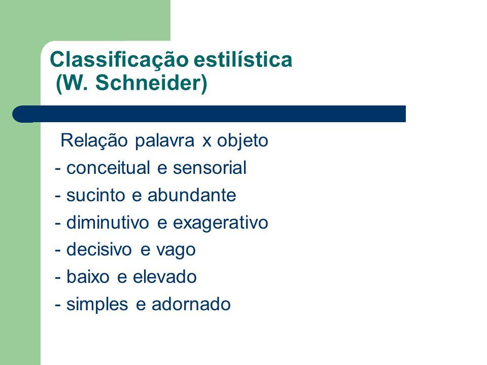 Classificação estilística (W. Schneider) Relação palavra x objeto - conceitual e sensorial - sucinto e abundante - diminutivo e exagerativo - decisivo