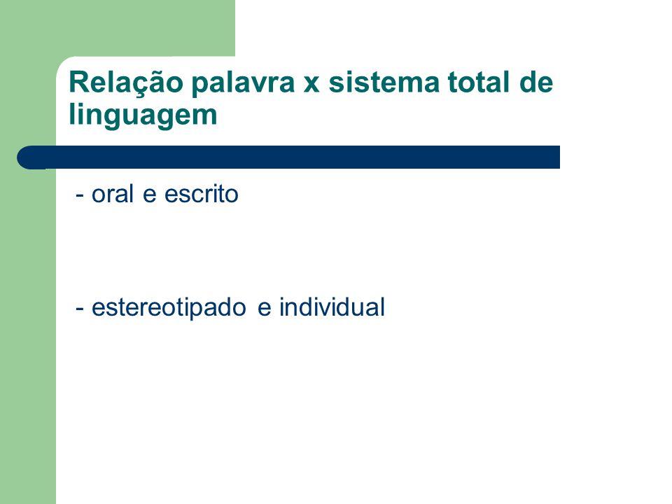Relação palavra x sistema total de linguagem - oral e escrito - estereotipado e individual